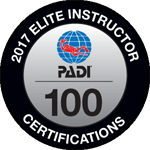 PADI Elite Instrcutor 100 in 2017